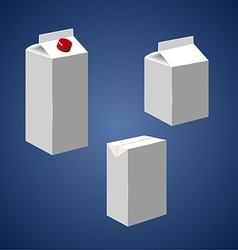 Juice milk blank white carton boxes packages vector image vector image
