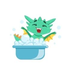 Little anime style baby dragon enjoying bubble vector