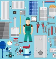 Plumbing and heating elements Heating equipment vector image vector image