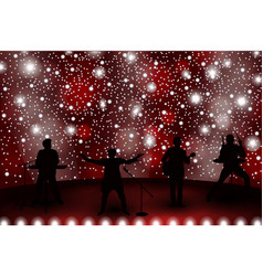 band show concept with red light and stars set of vector image