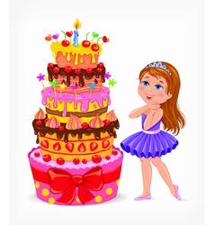 Birthday cake for girl vector image vector image