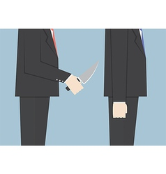 Businessman stabbing his friend in the back vector image vector image