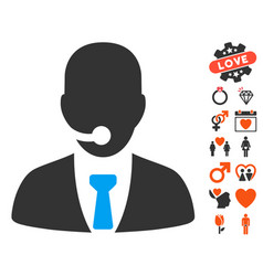 call center manager icon with dating bonus vector image vector image