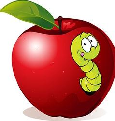 Cartoon Worm In Red Apple vector image vector image