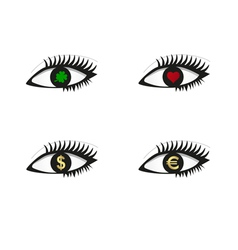 Eye set with money love and luck icons vector image vector image