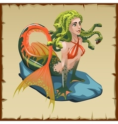Mermaid with snakes on her head cartoon character vector