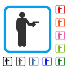 Robber with gun framed icon vector