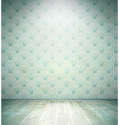 Aged room with floral wallpaper vector