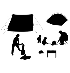 Camping with children vector image