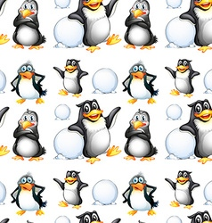 Seamless penguins and snow balls vector image