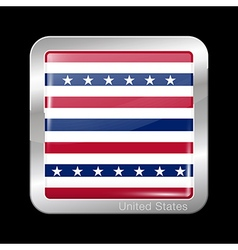 Stars and Stripes Flag Metal Icon Square Shape vector image vector image