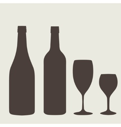 wine bottle sign set Bottle icon vector image
