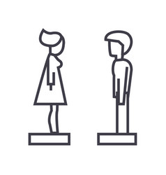 woman and man in profile line icon sign vector image vector image