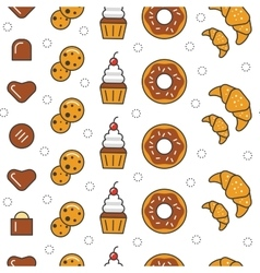 Bakery and Desserts Line Art Thin Seamless Pattern vector image vector image