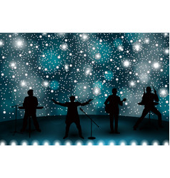 band show concept with blue light and stars set vector image vector image