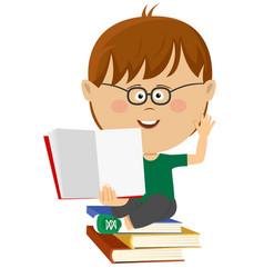 cute nerd little boy shows open textbook vector image