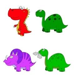 dino set cartoon vector image