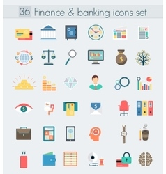 Finance banking modern design flat icons set vector image vector image
