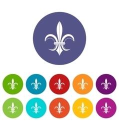 Lily heraldic emblem set icons vector image