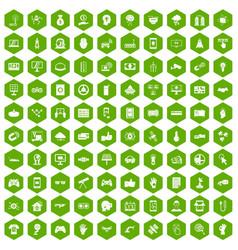 100 hi-tech icons hexagon green vector