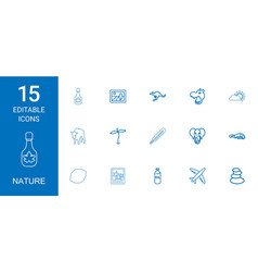 15 nature icons vector