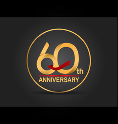 60 anniversary design golden color with ring vector