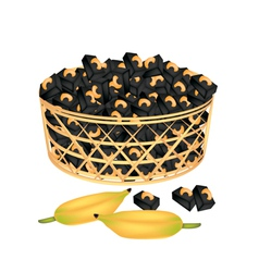 A Brown Basket of Sweet Banana Candies with Cashew vector image