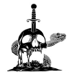 a knife through skull black silhouette simple vector image