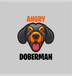 Angry doberman head mascot logo vector
