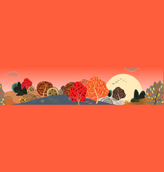 background with stylized autumn trees forest vector image