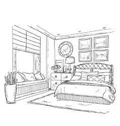 Bedroom modern interior drawing vector image