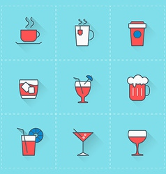 beverages icons icon set in flat design style vector image
