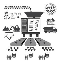 big data icons set data mining concept vector image