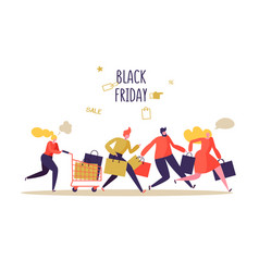 black friday sale event flat people characters vector image