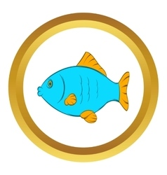 Blue fish icon cartoon style vector