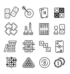 board games icon set isolated on white background vector image