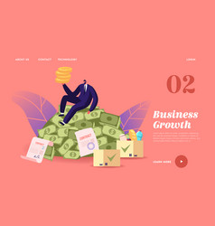 Business growth wealth and prosperity landing vector