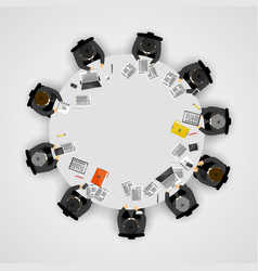 business people at a round table teamwork concept vector image