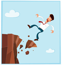 businessman falling from the side of cliff prev vector image