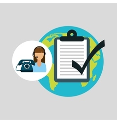 Call centre woman working globe check list vector