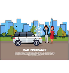 Car insurance service concept people standing at vector