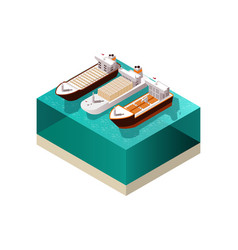 cargo boats isometric composition vector image