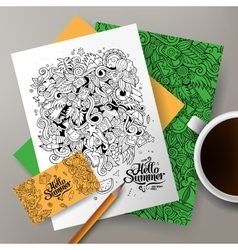 Cartoon doodles summer corporate identity vector image