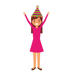 cartoon young girl standing smiling with arms up vector image