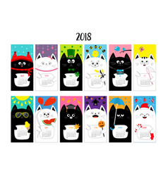 Cat vertical monthly calendar 2018 all month cute vector