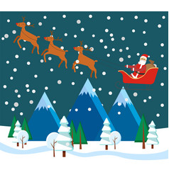 christmas winter landscape with santa and reindeer vector image