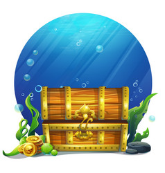 closed wooden old magic chest vector image