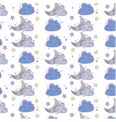 cloud and moon background cartoon vector image
