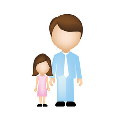 Color silhouette faceless with father and daughter vector