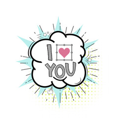 Comic banner - i love you hand drawing vector